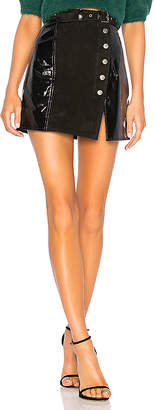 Understated Leather Belted Mini Split Skirt