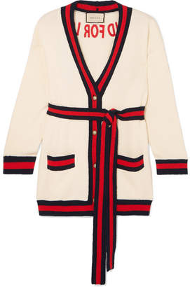 Embroidered Cotton-blend Cardigan - Ivory