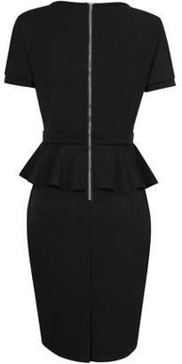 Lintimes Women Round Neck Ruffled Short Sleeve Slim Dress Formal Dress OL Office Dress Skirt Suit