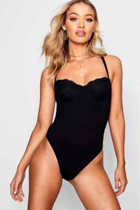 boohoo Double Strap Structured Cup Bodysuit