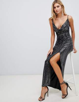 Missguided sequin cowl neck maxi dress with side split in black 1c312495f14
