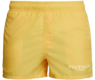 Givenchy Logo Print Swim Shorts - Mens - Yellow