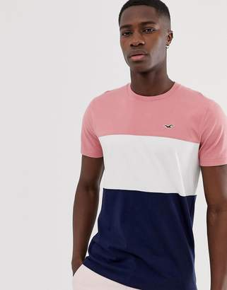 Hollister icon logo crew neck t-shirt in pink to navy colourblock