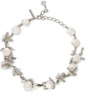 Oscar de la Renta Silver-Tone Crystal And Resin Necklace