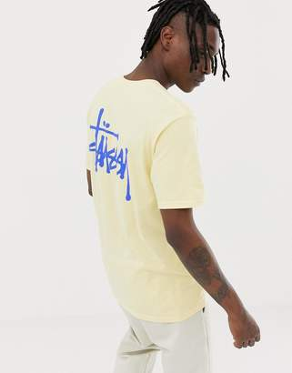 Stussy T-Shirt With Logo Back Print in Pale Yellow