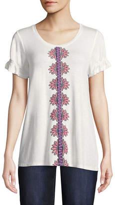 ST. JOHN'S BAY Short Sleeve Scoop Neck T-Shirt-Womens