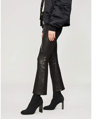 Frame Le Crop Mini Boot flared high-rise leather jeans
