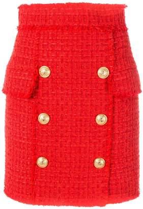 Balmain button-embellished tweed skirt