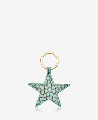 GiGi New York Star Keychain, Mint Crocodile Embossed Leather