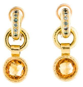 Elizabeth Locke 18K Citrine & Green Sapphire Drop Earrings