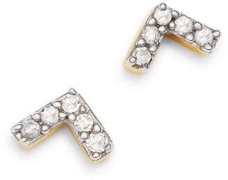 Adina 14K Yellow Gold Pavé Diamond Super Tiny V Stud Earrings