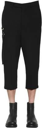 Rick Owens Wool Crepe Cropped Pants W/Metal Detail