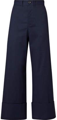 Sea Cropped Stretch-poplin Wide-leg Pants - Midnight blue