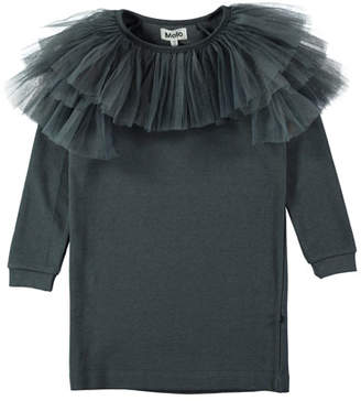 Molo Ciss Tulle-Trim Sweatshirt Dress, Size 3T-10