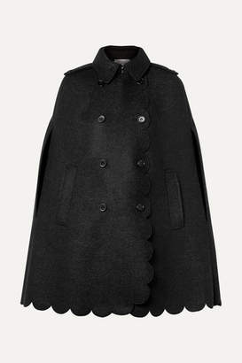 RED Valentino Double-breasted Scalloped Wool-blend Bouclé Cape - Charcoal