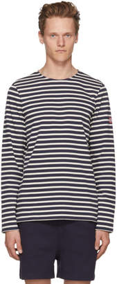 A.P.C. Navy and Off-White Long Sleeve Matt Sailor T-Shirt