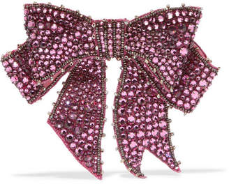 Crystal, Bead And Crepe Brooch - Pink