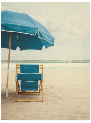 """Elizabeth Urquhart Under the Umbrella Ii - Bright Turquoise Canvas Art - 15.5"""" x 21"""""""