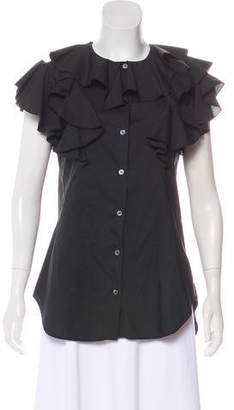 Hache Ruffled Button- Up Top