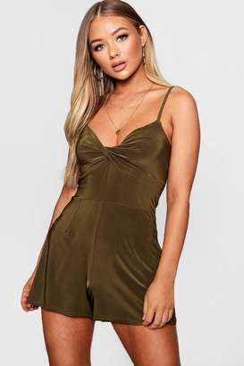 boohoo Twist Front Slinky Playsuit