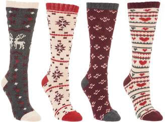 Muk Luks Set of 4 Holiday Boot Socks