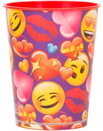 Unique Industries Love Emoji Plastic Cup, 16 oz, 1ct