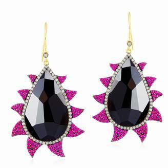 Meghna Jewels 18k Gold Multi Color Claw Drop Earrings