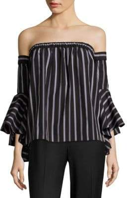 Milly Ines Striped Off-the-Shoulder Top