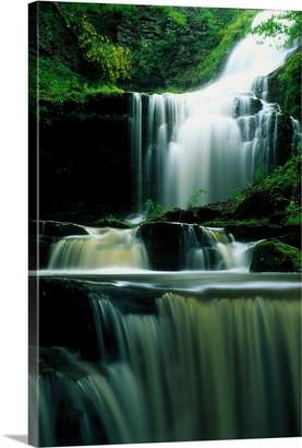 N. Canvas On Demand Premium Thick-Wrap Canvas Wall Art Print entitled Waterfall Scalebor Force Yorkshire England