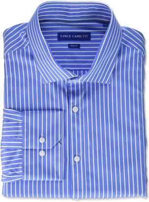 Vince Camuto Men's Slim Fit Classic Striped Dress Shirt, Blue/White