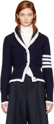 Thom Browne Navy Shawl Collar Four Bar Cardigan