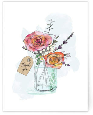Hand-Drawn Roses and Mason Jar Self-Launch A2 Cards