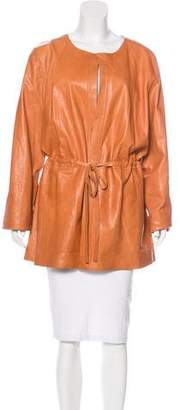 Lafayette 148 Belted Leather Coat w/ Tags
