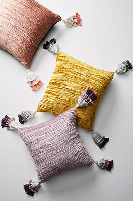 Anthropologie Tasseled Velvet Pillow