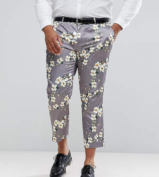 Asos Plus Wedding Skinny Crop Smart Pants With Light Grey Floral Print