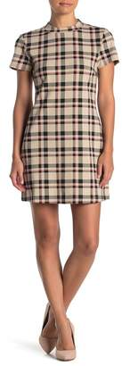 Sanctuary Mock Neck Ponte Knit Plaid Shift Dress (Petite)