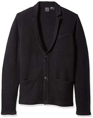 Armani Exchange A|X Men's Cotton Honey Comb Stitch Slim Fit Sweater Blazer