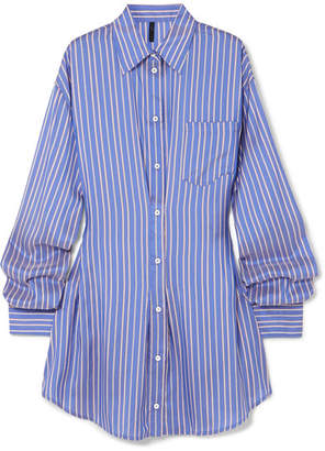 Unravel Project Striped Silk Shirt Dress - Blue