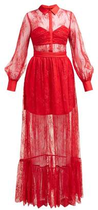 Self-Portrait Self Portrait Floral Chantilly Lace Dress - Womens - Red
