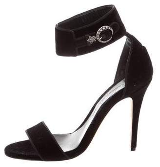 Alexander McQueen Velvet Ankle Strap Sandals