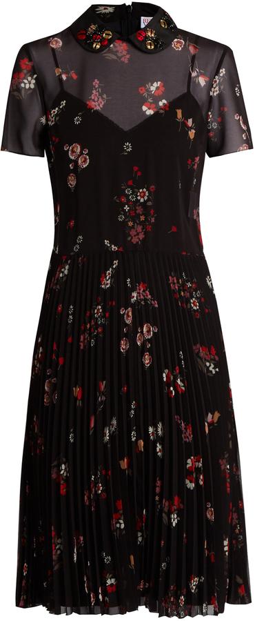 RED ValentinoREDVALENTINO Embellished-collar short-sleeved crepe dress