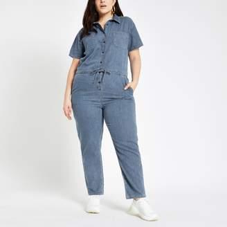 River Island Womens Plus Blue utility denim jumpsuit