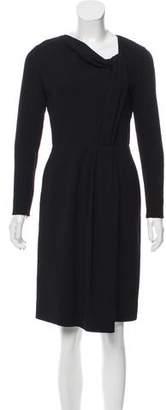 Oscar de la Renta Pleated Wool Dress
