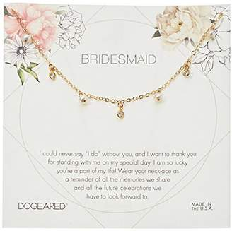 Dogeared Bridesmaid Flower Card Danggling Pearl Chain Neckalce