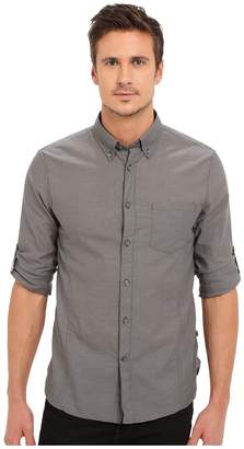 John Varvatos Roll Up Sleeve Shirt w/ Button-Down Collar Single Pocket Men's Long Sleeve Button Up