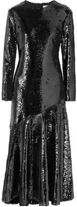 Racil Gilda Sequined Silk-tulle Midi Dress - Black