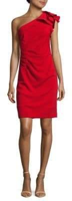 Carmen Marc Valvo Ruffled One-Shoulder Dress