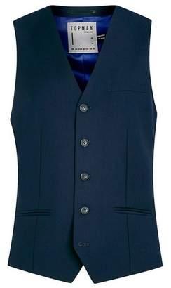 Topman Mens Blue Navy Suit Vest