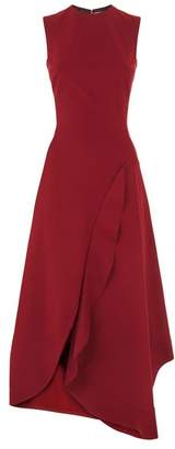 Victoria Beckham Asymmetric Ruffle Midi Dress