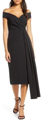 Eliza J Off the Shoulder Asymmetrical Cocktail Dress